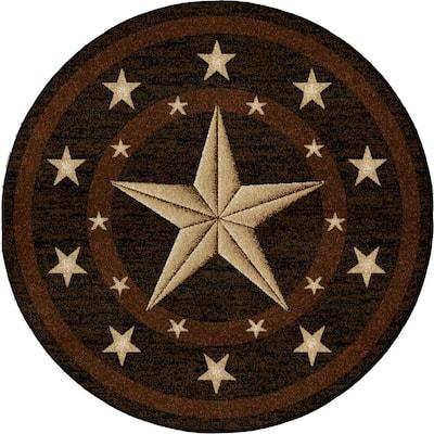 Hearthside Western Star Multi-Colored 5 ft. Southwestern Round Area Rug
