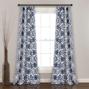 Navy Medallion Rod Pocket Room Darkening Curtain - 52 in. W x 84 in. L  (Set of 2)