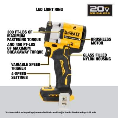20-Volt Cordless 1/2 in. Impact Wrench (Tool-Only)
