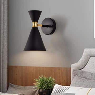 1-Light Black Wall Sconce with Brass Accents