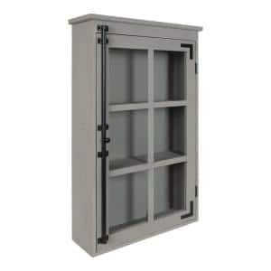 Hutchins 6 in. x 20 in. x 32 in. Gray Wood Floating Decorative Cubby Wall Shelf With Brackets