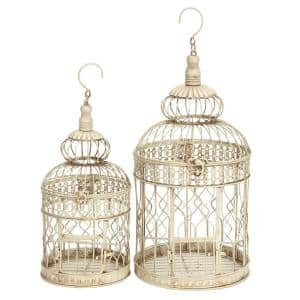 22 in. and 18 in. Distressed White Classic Metal Birdcage (Set of 2)