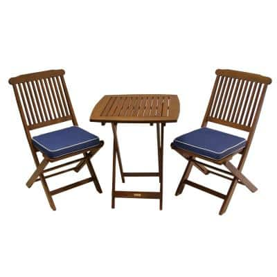 3-Piece Eucalyptus Outdoor Bistro Set with Blue Cushions
