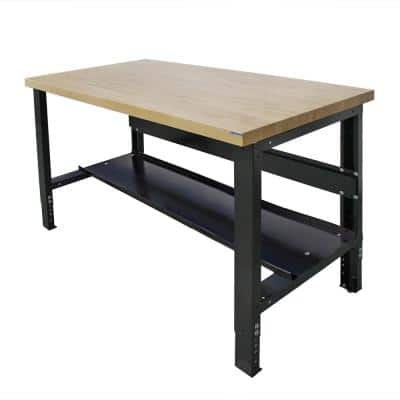30 in. x 48 in. Heavy-Duty Adjustable Height Workbench with Solid Hardwood Top and Bottom Shelf, Commercial Grade
