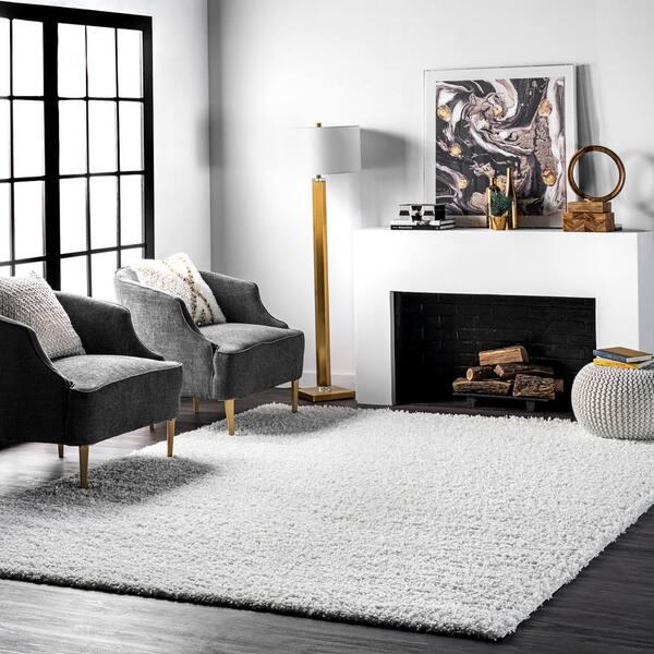 Nuloom Marleen Plush White 8 Ft X, White Living Room Rug