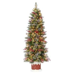 6 ft. Wintry Pine Half Tree with Clear Lights