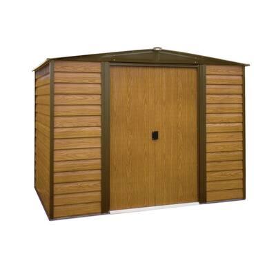Woodridge 10 ft. W x 6 ft. D Wood-grain Galvanized Metal Storage Building