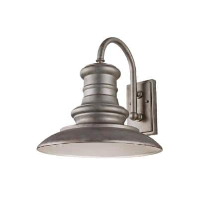 Redding Station Large 1-Light Tarnished Silver Outdoor Wall Lantern Sconce with Turtle Friendly Amber 7W PAR20 LED Bulb