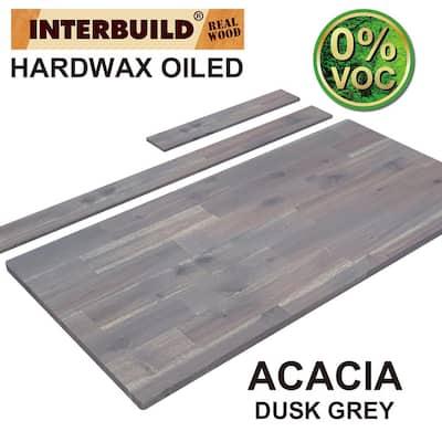 73 in. x 24 in. x 1 in. Acacia Vanity Top with Backsplash, Dusk Grey