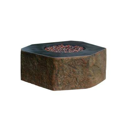Columbia 42 in. x 42 in. x 16 in. Hexagon Concrete Propane Fire Pit Table in Brown