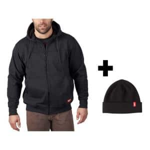 Men's Medium Black No Days Off Hooded Sweatshirt with Black Cuffed Knit Hat