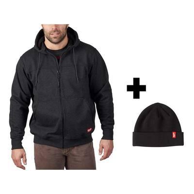 Men's Medium Black No Days Off Hooded Sweatshirt with Black Cuffed Knit Hat