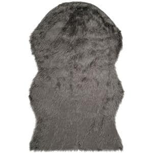 Faux Sheep Skin Grey 3 ft. x 5 ft. Area Rug