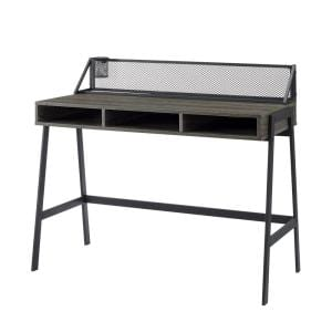 42 in. Rectangle Cerused Ash Wood and Metal Mesh Industrial 3 Cubby Writing Desk