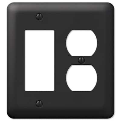 Declan 2 Gang 1-Duplex and 1-Rocker Steel Wall Plate - Black