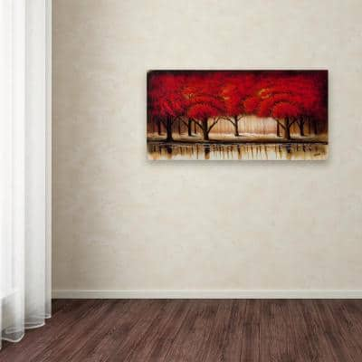 """12 in. x 24 in. """"Parade of Red Trees II"""" by Rio Printed Canvas Wall Art"""