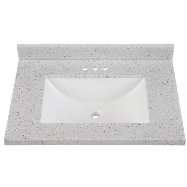 Home Decorators Collection 31 In Solid Surface Vanity Top In Silver Ash With White Sink Ss31r Ah The Home Depot