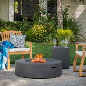 Aidan 39 in. x 11.5 in. Circular Outdoor Gas Fire Pit Table with Tank Holder