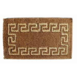 Traditional Coir, Greek Key, 60 in. x 36 in. Natural Coconut Husk Door Mat