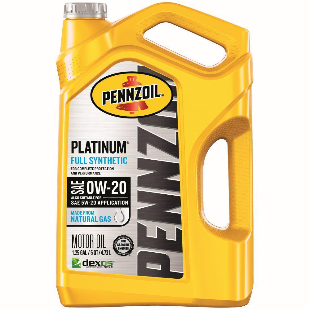 Pennzoil Platinum SAE 0W-20 Full Synthetic Motor Oil - 5 Qt.