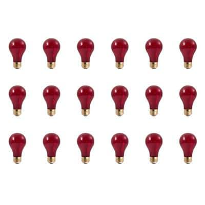 25-Watt A19 Transparent Red Dimmable Incandescent Light Bulb (18-Pack)