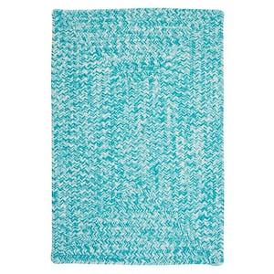 Marilyn Tweed Aqua 2 ft. x 3 ft. Rectangle Braided Area Rug