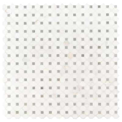 Bianco Dolomite Dotty 12.31 in. x 12.36 in. x 10 mm Polished Marble Mesh-Mounted Mosaic Tile (10.6 sq. ft. / case)