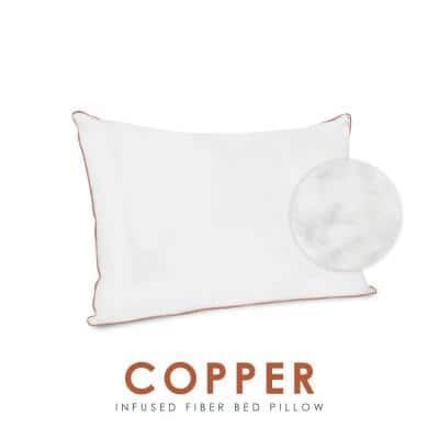 Wellness Collection Copper Infused Fabric Cover Plush Fiber Jumbo Pillow