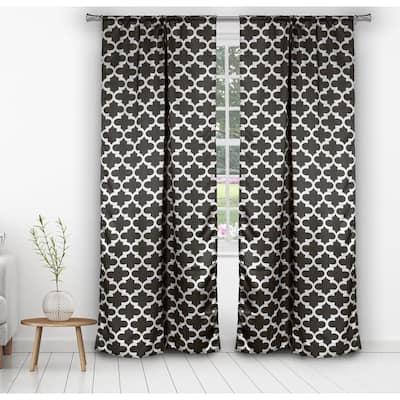 Geometric Black Polyester Blackout Rod Pocket Window Curtain 38 in. W x 84 in. L (2-Pack)