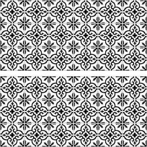 Ornate Black and White Tile Backsplash Peel and Stick Giant Wall Decal