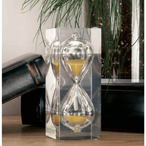 15-Minute Cuboid Clear Glass Gold Sand Timer