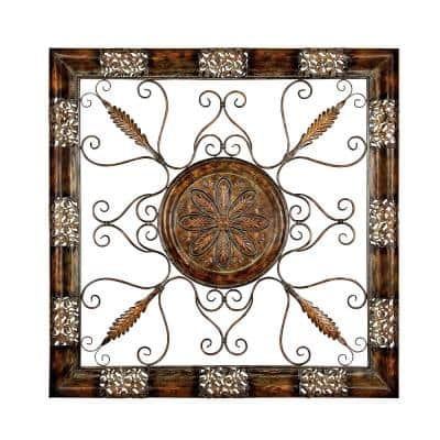 45 in. x 45 in. Brown Metal Scrollwork Wall Plaque