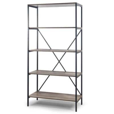 August 67.125 in. Light Brown Weathered Oak Particle Board 5- -Shelf Modern Etagere Bookcase with Metal Frame
