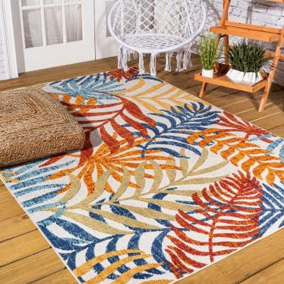 Tropics Palm Leaves Cream/Orange 8 ft. x 10 ft. Floral Indoor/Outdoor Area Rug