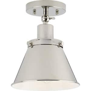 Hinton Collection 1-Light Polished Nickel Vintage Flush Mount Ceiling Light