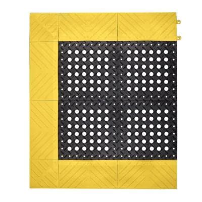 Diamond Flex-Lok Black with Yellow Safety Border 30 in. x 36 in. PVC Anti-Fatigue/Safety Mat