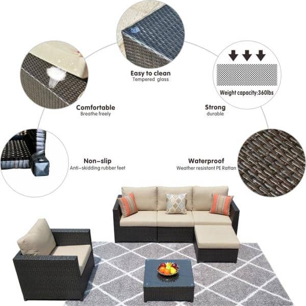 Ovios King 6 Piece Big Size Wicker, Rubber Feet For Outdoor Furniture Home Depot
