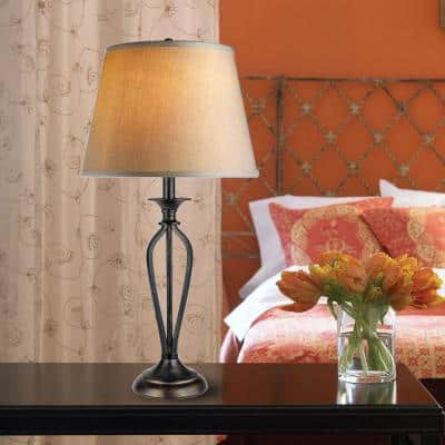 Rhodes 28 in. Bronze Table Lamp with Natural Linen Shade