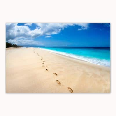 Footsteps On The Beach by Colossal Images Canvas Wall Art 36 in. x 54 in.