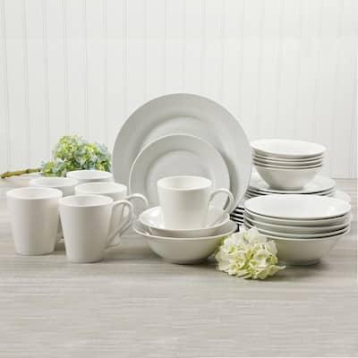 Noble Court 30-Piece Rustic White Ceramic Dinnerware Set (Service for 6)