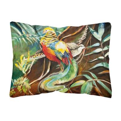 12 in. x 16 in. Multi Color Lumbar Outdoor Throw Pillow Mandarin Pheasant