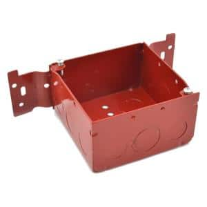 4 in. Square Red Fire Alarm Boxes (2-1/8 in. D, CV Mounting Bracket)(50-Pack)