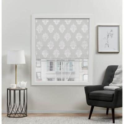 Marseilles Damask Silver Cordless Total Blackout Roman Shade 27 in. W x 64 in. L