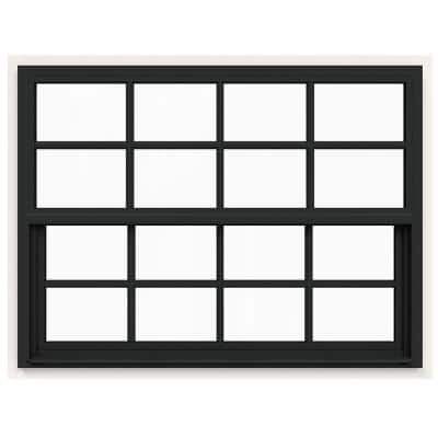 42 in. x 36 in. V-4500 Series Bronze FiniShield Single-Hung Vinyl Window with 8-Lite Colonial Grids/Grilles