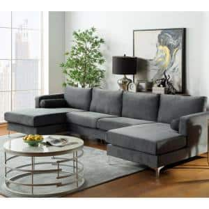 1 Piece Gray Velvet 4 Seats U-Shape Reversible Sectionals with Two Pillows