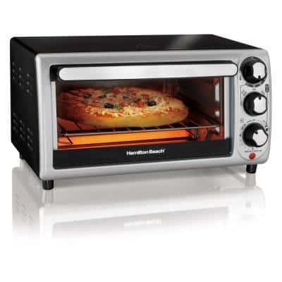 1100 W 4-Slice Stainless Steel and Black Toaster Oven