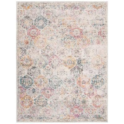 Madison Gray/Gold 9 ft. x 12 ft. Border Distressed Floral Area Rug