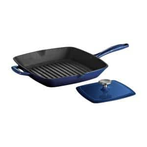 Gourmet 11.5 in. Enameled Cast Iron Grill Pan in Gradated Cobalt with Bacon Press