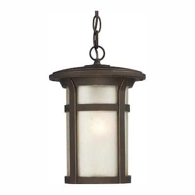 Round Craftsman 1-Light Dark Rubbed Bronze Outdoor Hanging Lantern