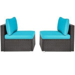 2-Piece Wicker Armless Patio Outdoor Sectional Set with Blue Cushion